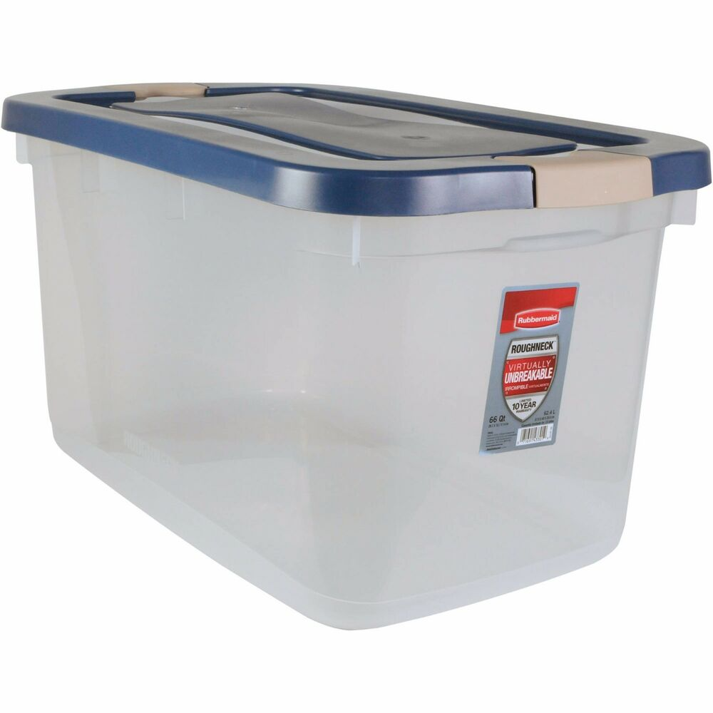 Rubbermaid Roughneck Clear Storage Tote Box 66 Qt