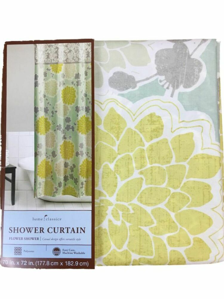 Details About Home Classics Flower Shower Fabric Curtain Blue Yellow Gray Floral Bath