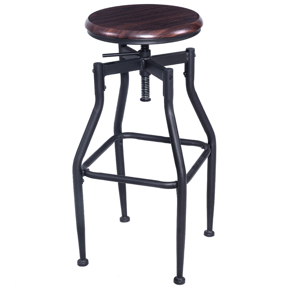 New Vintage Bar Stool Metal Design Wood Top Height Adjustable Swivel Industrial Ebay
