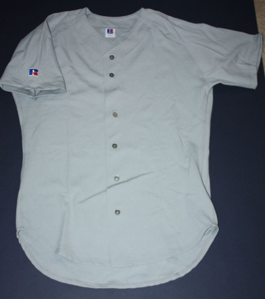 New Russell Athletic Blank Gray Short Sleeve Button Up Mesh Baseball Jersey L Xl Ebay