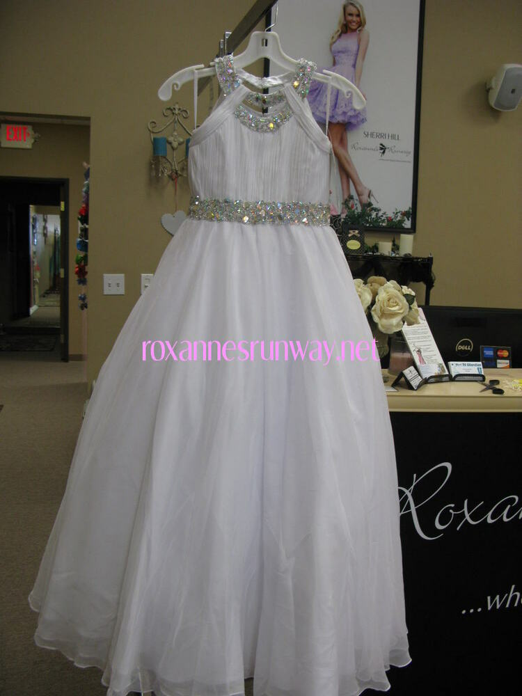little rosie lr2154 white stunning girls pageant gown