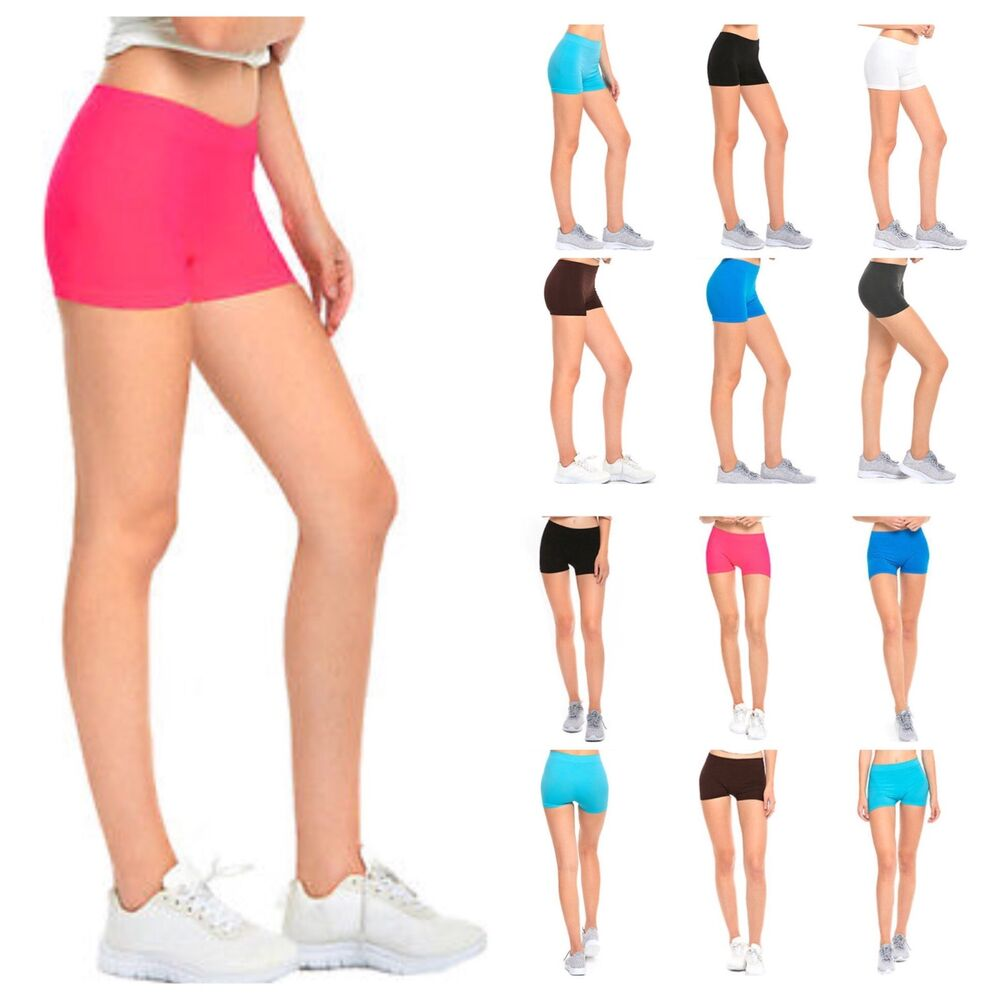 Women Plain Seamless Stretch Shorts Spandex Workout Sports