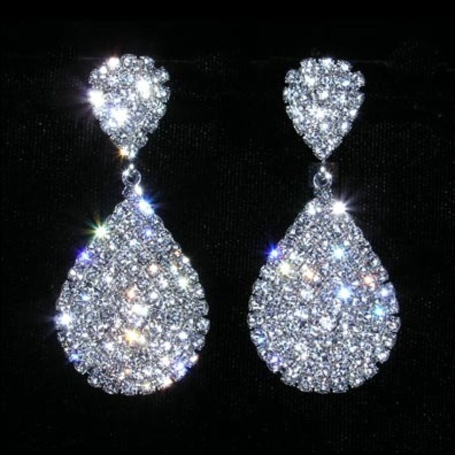 Pageant earrings ebay rhinestone encrusted dangle earrings prom pageant new arubaitofo Images