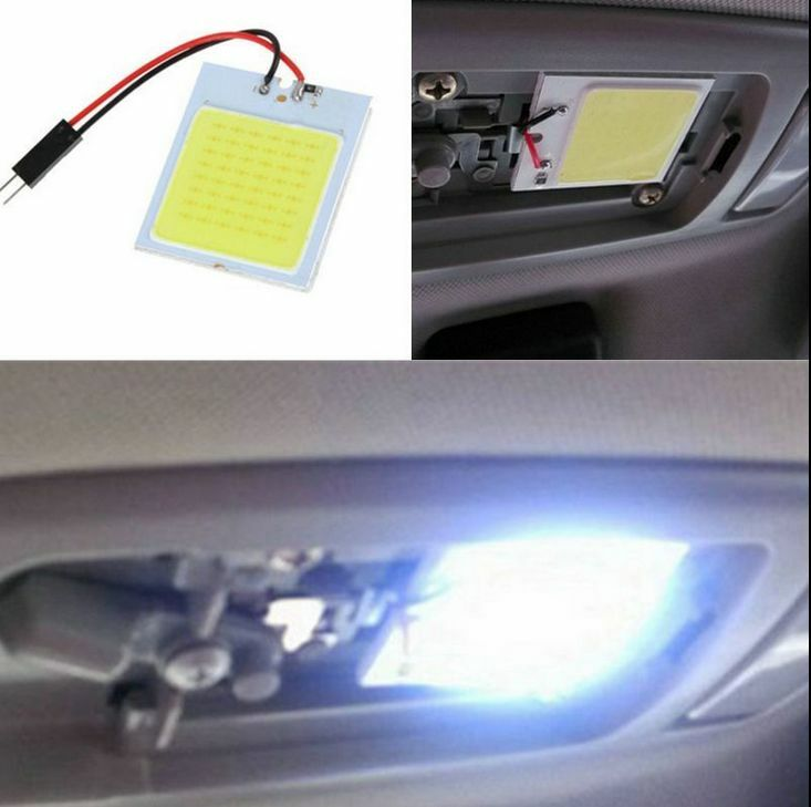 white car interior light panel 48 smd led t10 ba9s dome festoon bulb adapter 12v ebay. Black Bedroom Furniture Sets. Home Design Ideas