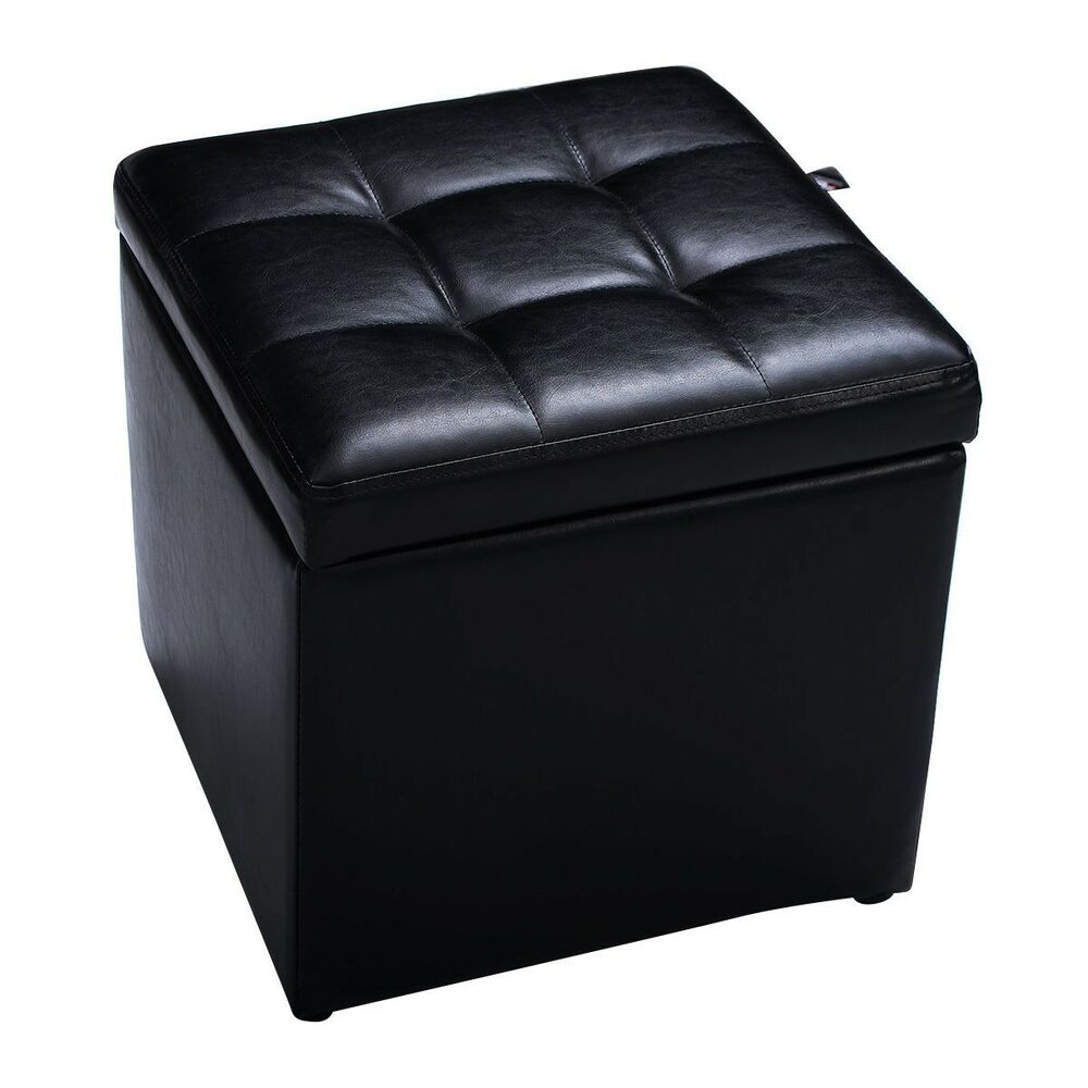 Large faux leather folding ottoman pouffe seat foot stool for Foot storage ottoman