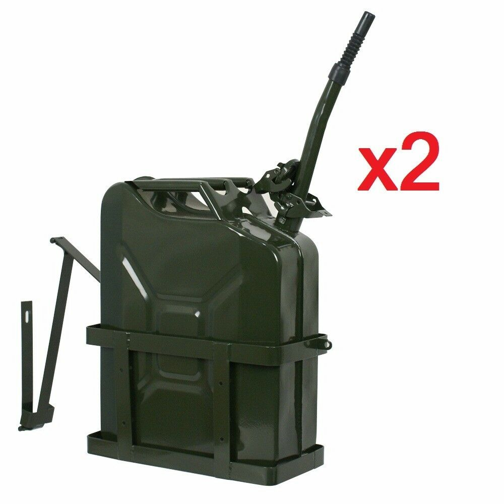 lot of 2 jerry can with holder 20l liter 5 gallons steel tank fuel gasoline ebay. Black Bedroom Furniture Sets. Home Design Ideas