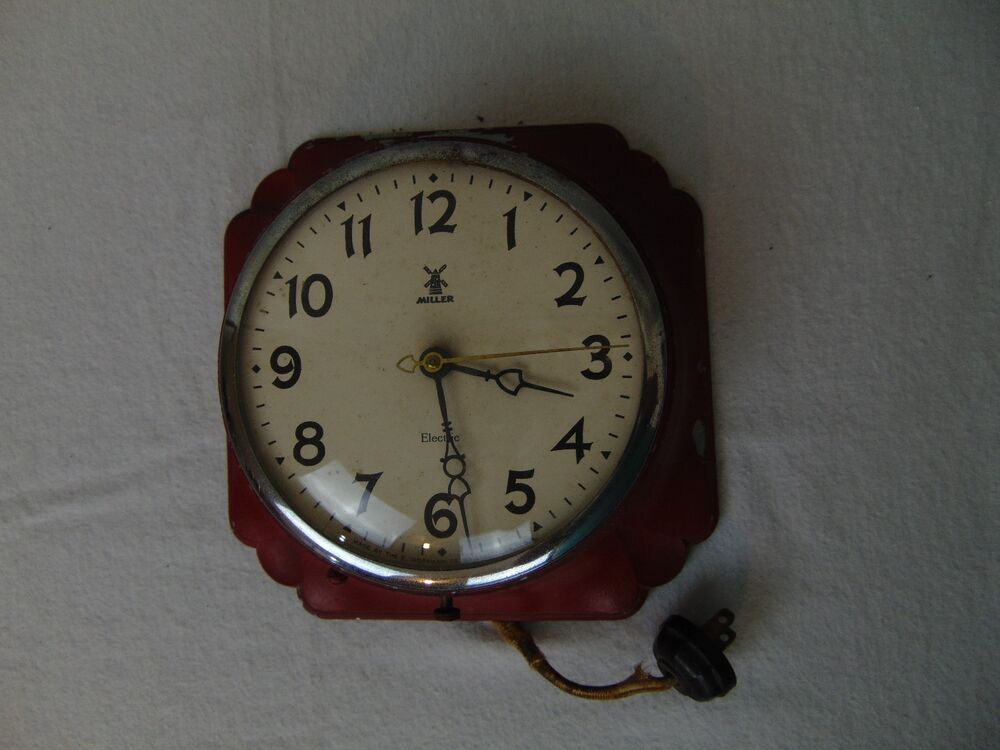 Vintage E Ingraham Miller Lotus Lenox Electric Wall Clock