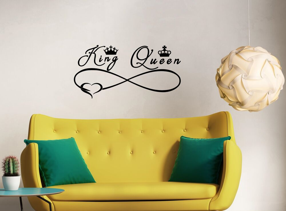 Personalised King And Queen Heart Infinity Vinyl Wall Sticker Decal