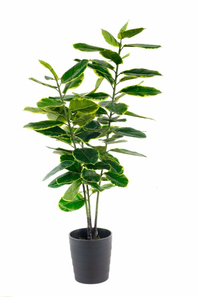 new indoor outdoor potted artificial large 90cm rubber ficus plant tree ebay. Black Bedroom Furniture Sets. Home Design Ideas