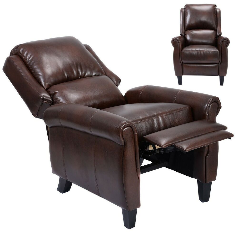 Recliner accent leather chair push back living room home for Ebay living room chairs