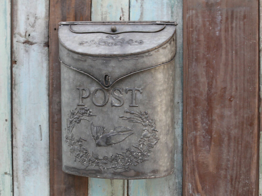 vintage style zinc mail box letter box post box antique finish wedding ebay. Black Bedroom Furniture Sets. Home Design Ideas