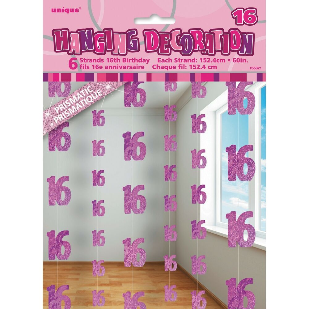 18th Birthday Ideas For The Perfect Party: 6 Happy 16th Birthday Pink Sparkle Prismatic 5ft String
