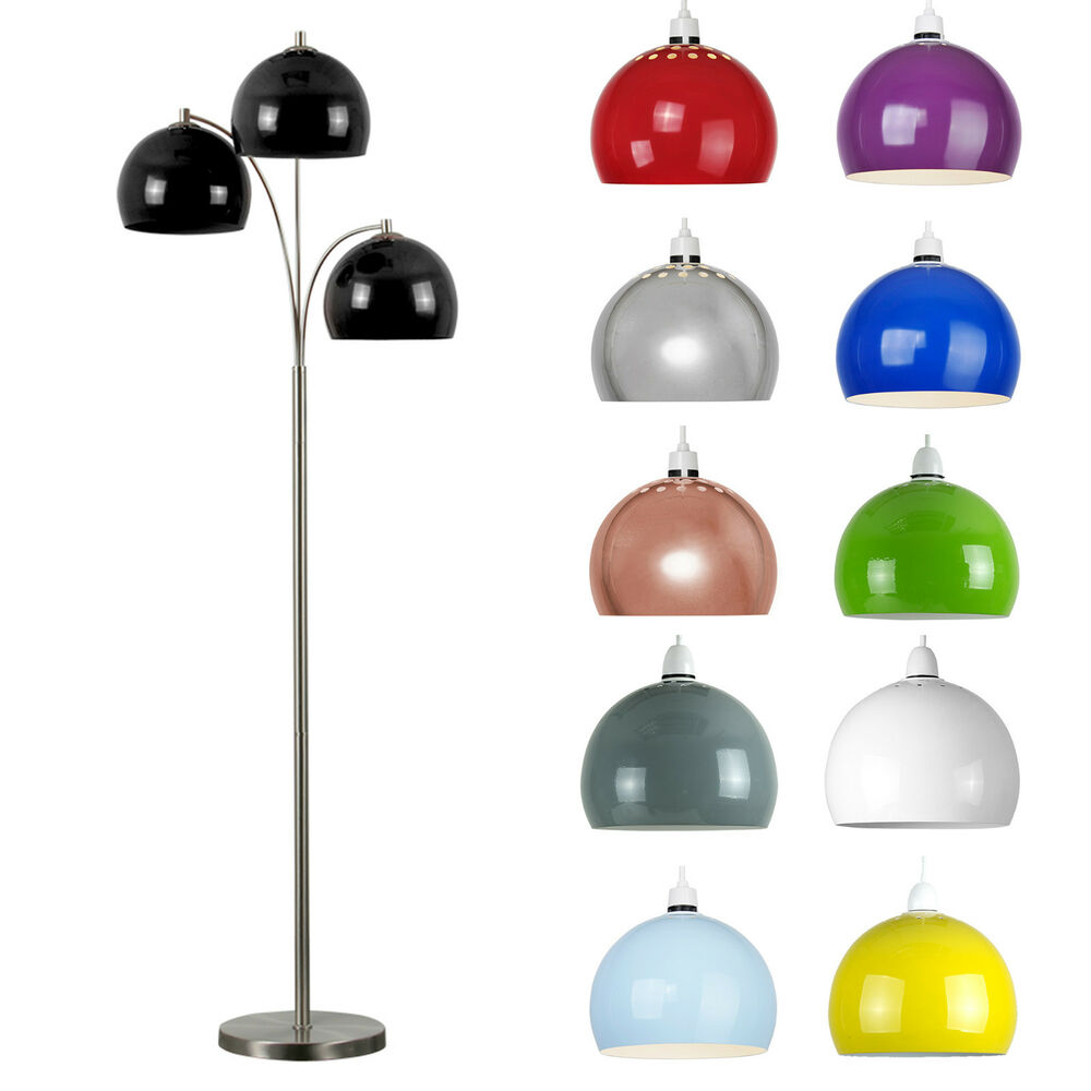 modern large brushed chrome 3 way floor standard lamp base domed