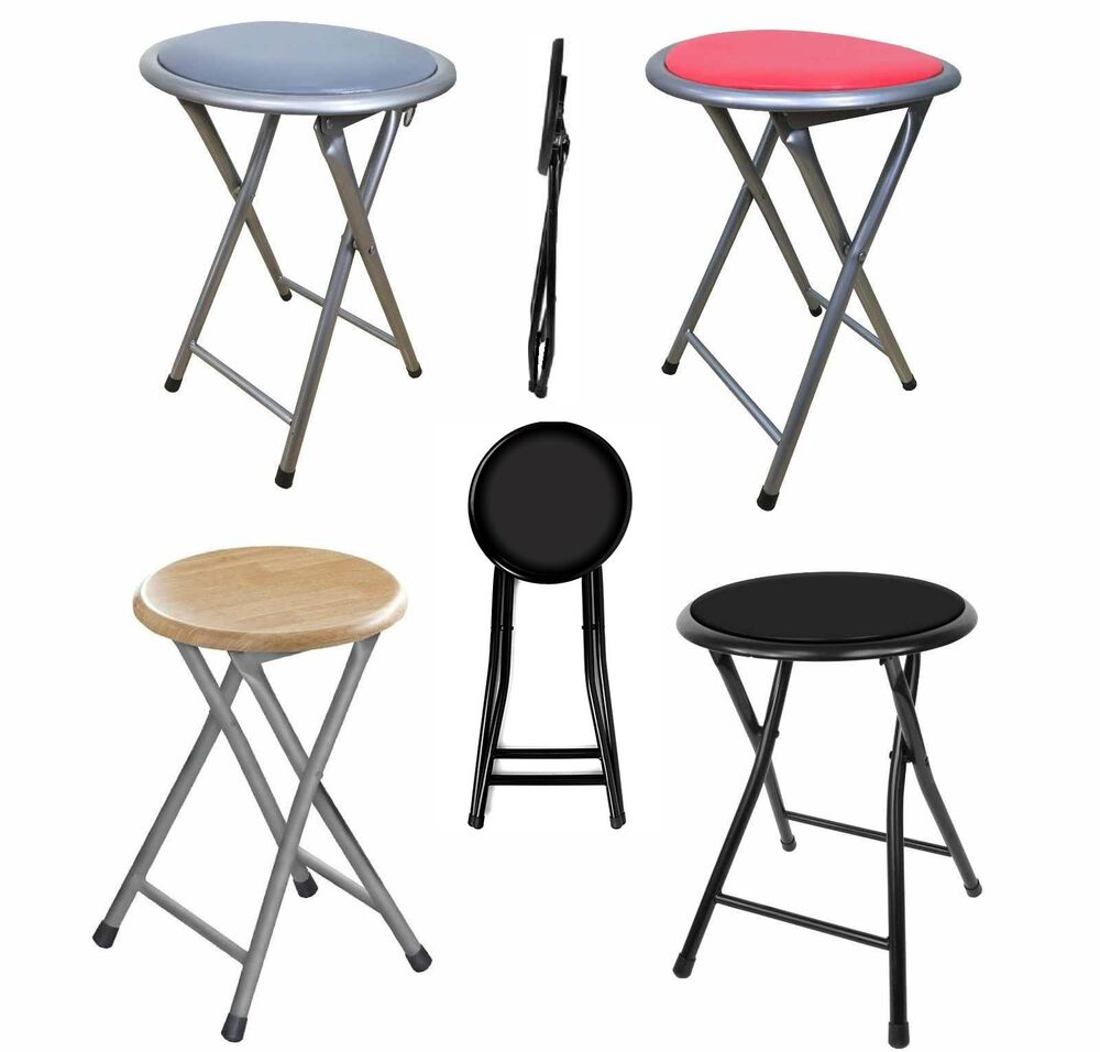 Round Folding Stool Chair Kitchen Breakfast Bar Office