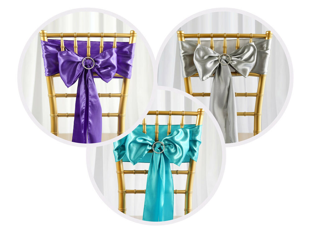 100 New Satin Chair Sashes Bows Ties Wedding Decorations