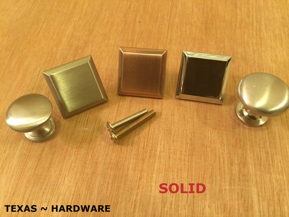 Solid Knob Kitchen Cabinet Pull Brushed Nickel Copper