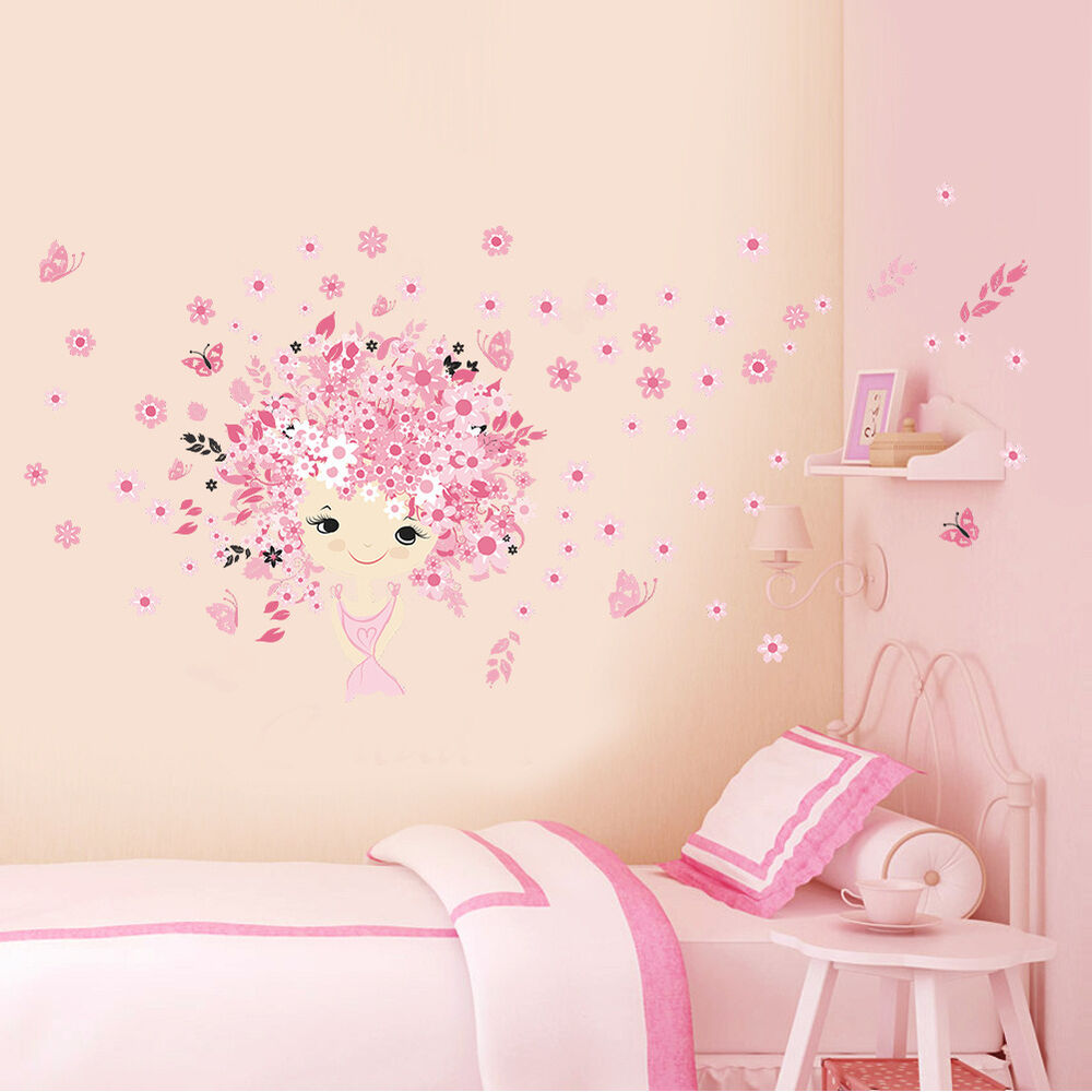 Kids girl room decor fairy princess butterly decals vinyl for Girls murals