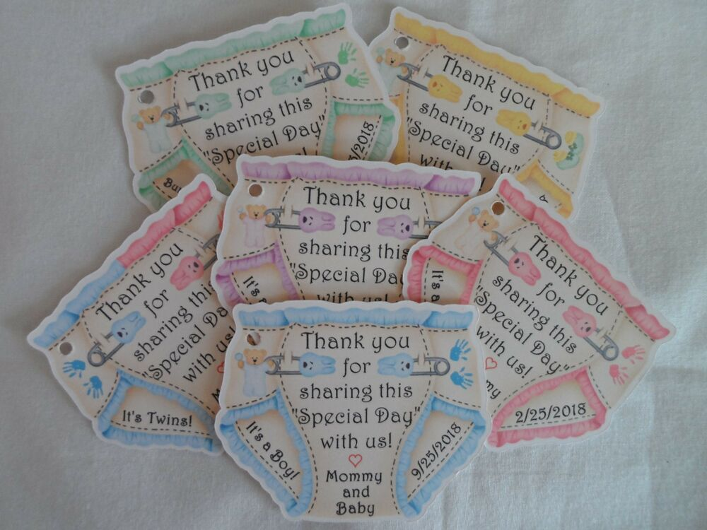 Unique personalized diaper theme twins baby shower party favor gift tags ebay - Baby shower favor tags ...