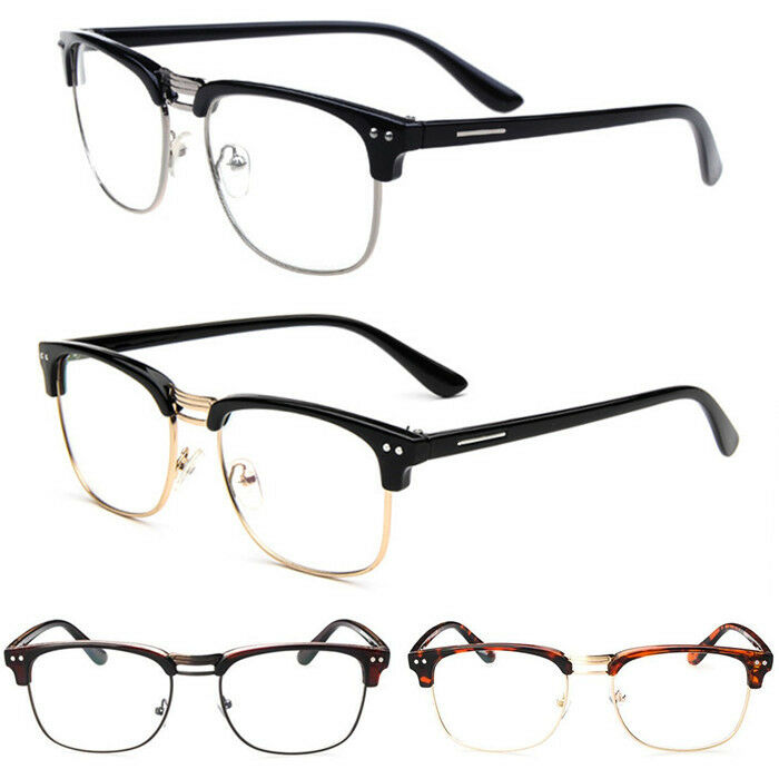 Vintage Womens Mens Half Frame Clear Lens Glasses Nerd ...
