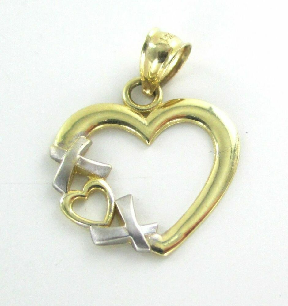 14k solid yellow white gold heart pendant xoxo charm fine for What is fine jewelry