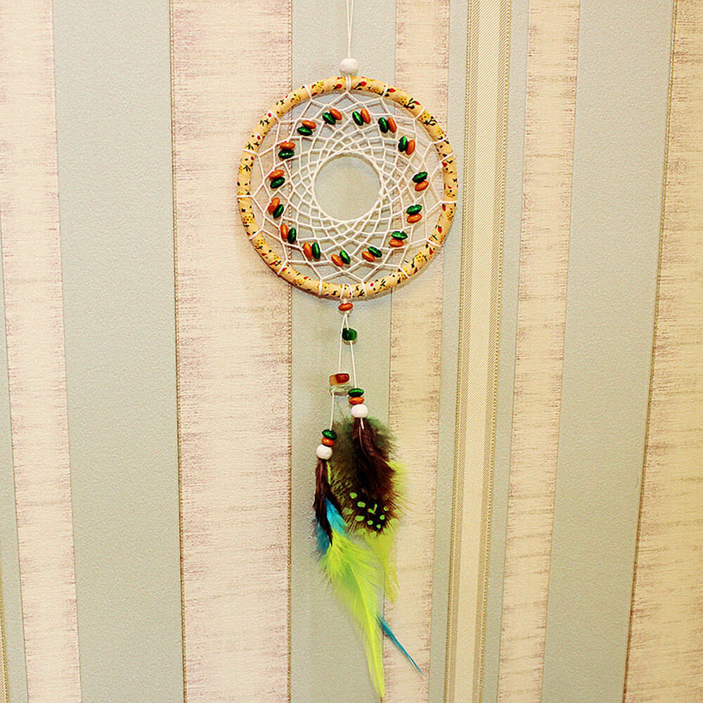 New feather handmade dream catcher car wall door hanging for Handmade things for decoration