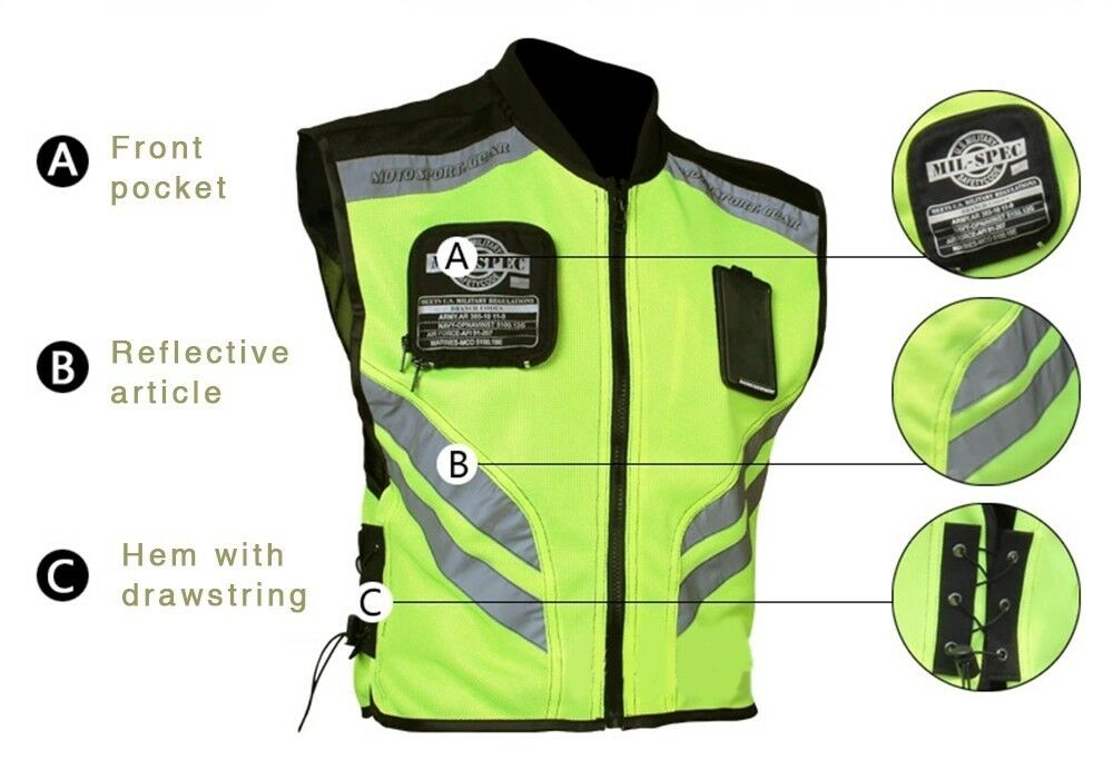High Visibility Motorcycle Vests Easy Add On To Being Seen ... |Motorcycle Safety Vest Womens