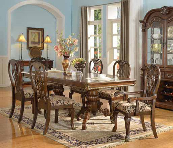 New Chateau Formal Traditional Rustic Cherry Finish Wood: NEW 7PC ELEANORE ELEGANT TRADITIONAL BROWN CHERRY WOOD