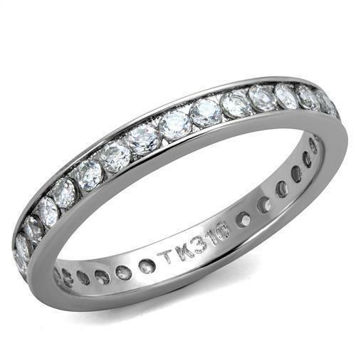 round cz stainless steel eternity wedding anniversary band ring ebay