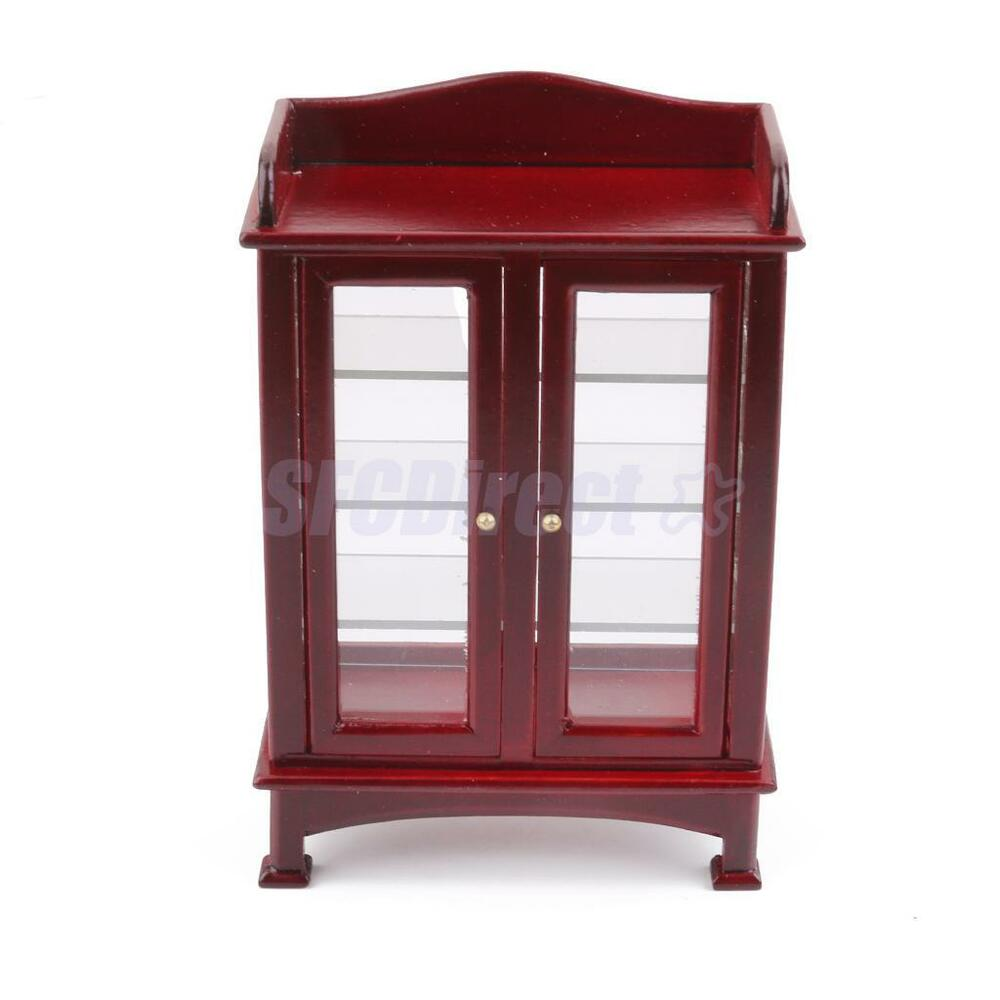 Dollhouse furniture mahogany display cabinet cupboard sideboard doors open ebay Dollhouse wooden furniture