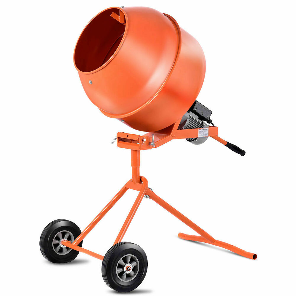 Cement Mixer Blades : Portable cuft electric concrete cement mixer barrow