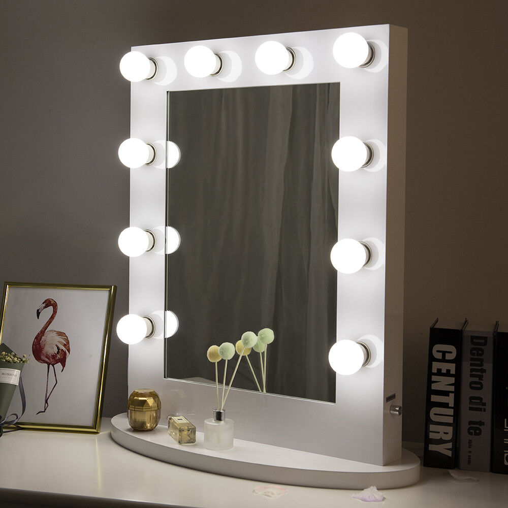White Hollywood Makeup Vanity Mirror With Light Dimmer