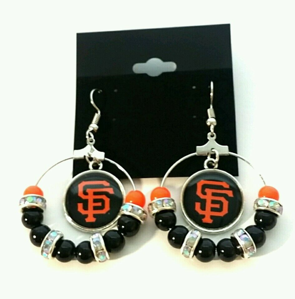 San francisco giants hoop beaded earrings ebay for San francisco handmade jewelry
