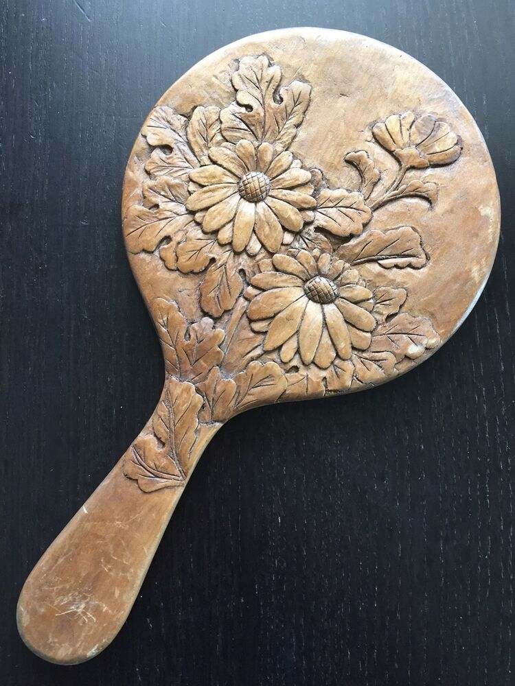 Fine vtg antique japanese carved wooden wood relief flower