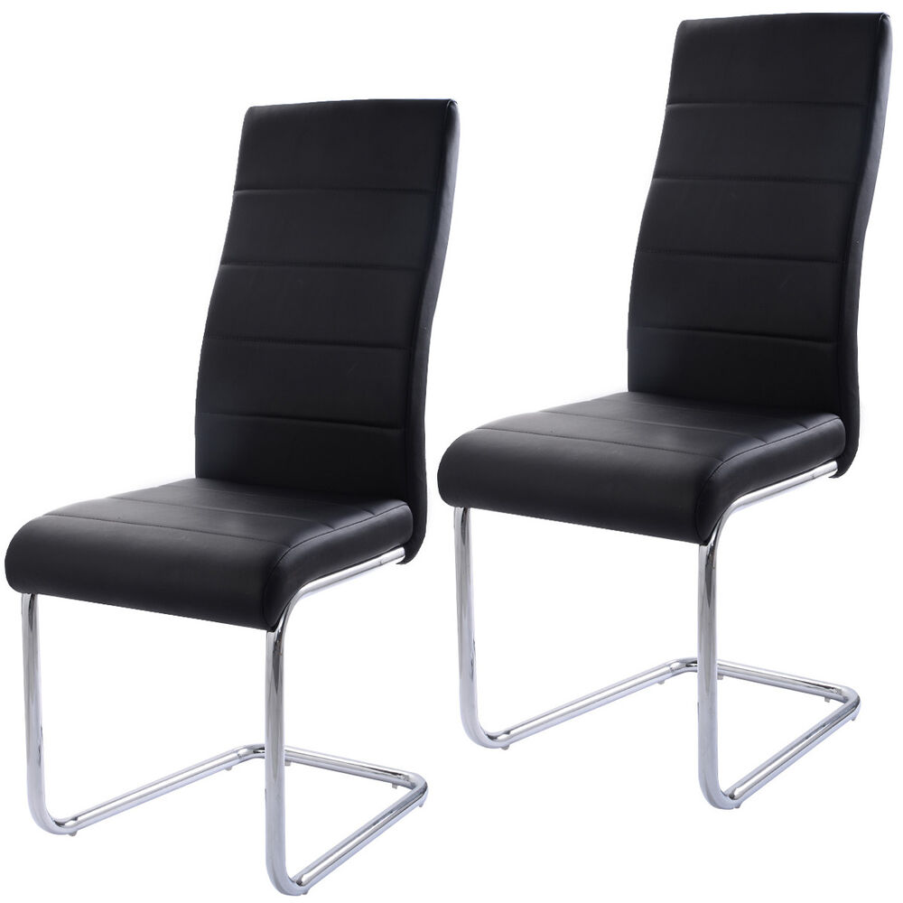 Porter Leather Chair Set Of 2: Set Of 2 PU Leather Dining Chairs Elegant Design High Back
