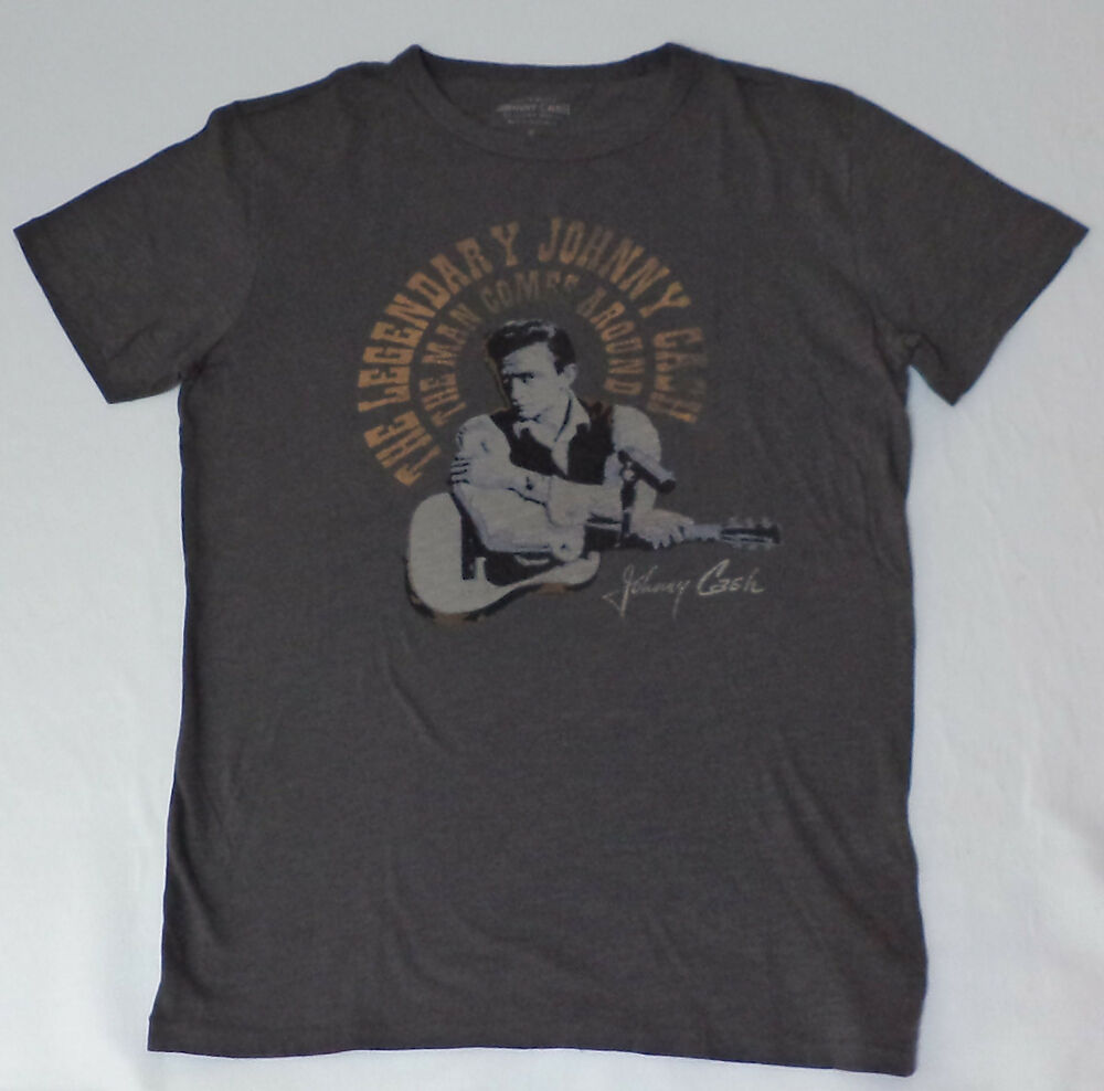 94eecc693171 Details about NWT Lucky Brand Johnny Cash Man In Black S/S Gray Graphic T- Shirt Small L1224