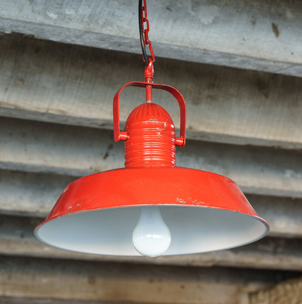 Vintage industrial farmhouse aged red metal pendant light for Metal hanging lights