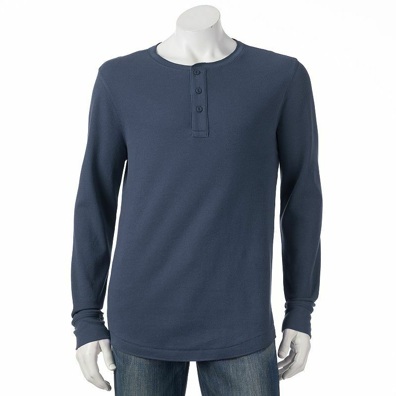 Sonoma life style thermal henley s m l xl blue and white for Mens xl tall henley shirts
