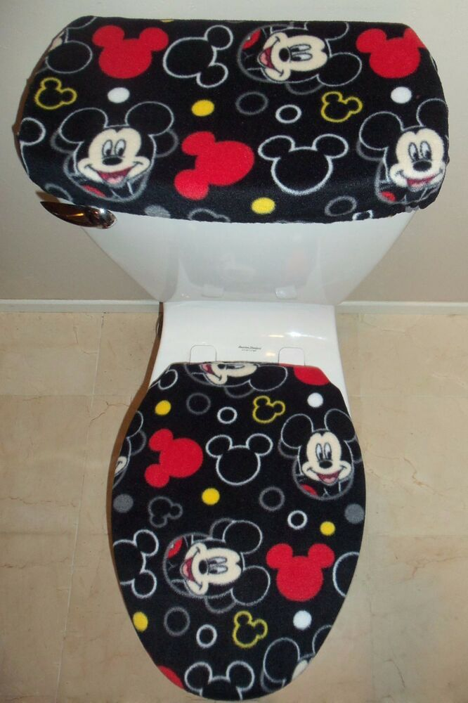 Disney mickey mouse heads fleece toilet seat cover set bathroom accessories ebay - Mickey mouse bathroom accessory set ...