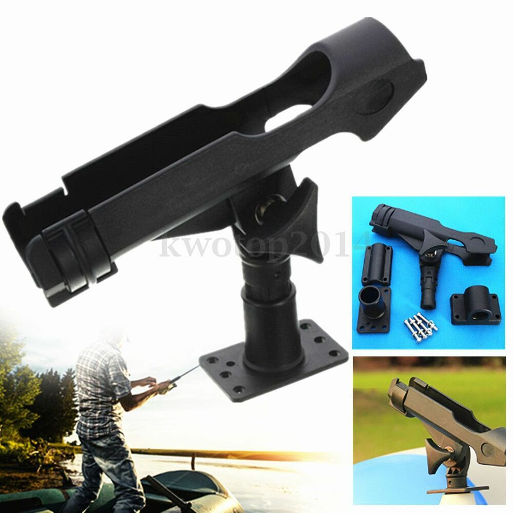 Rotatable adjustable side rail mount kayak boat fishing for Kayak fishing pole holder