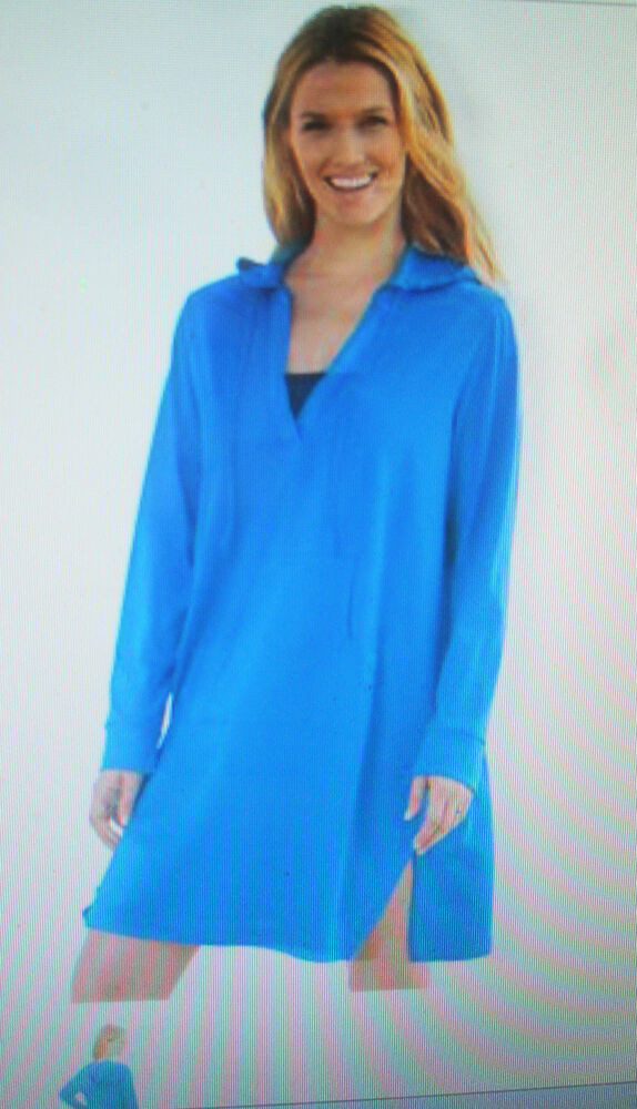 Nwt Womens Swimsuit Hooded Cover Up Robe L 1x 2x Blue 100