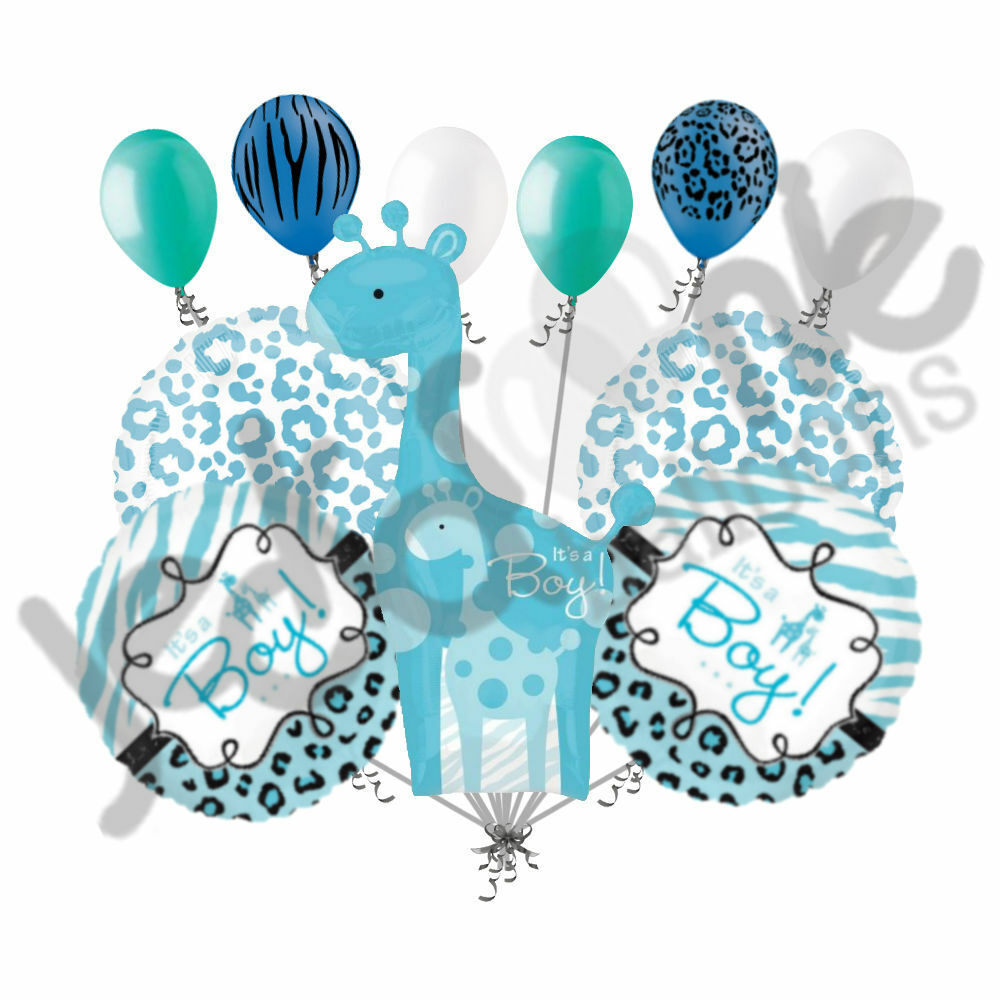 11 pc sweet safari baby boy giraffe balloon decoration for Baby welcome home decoration