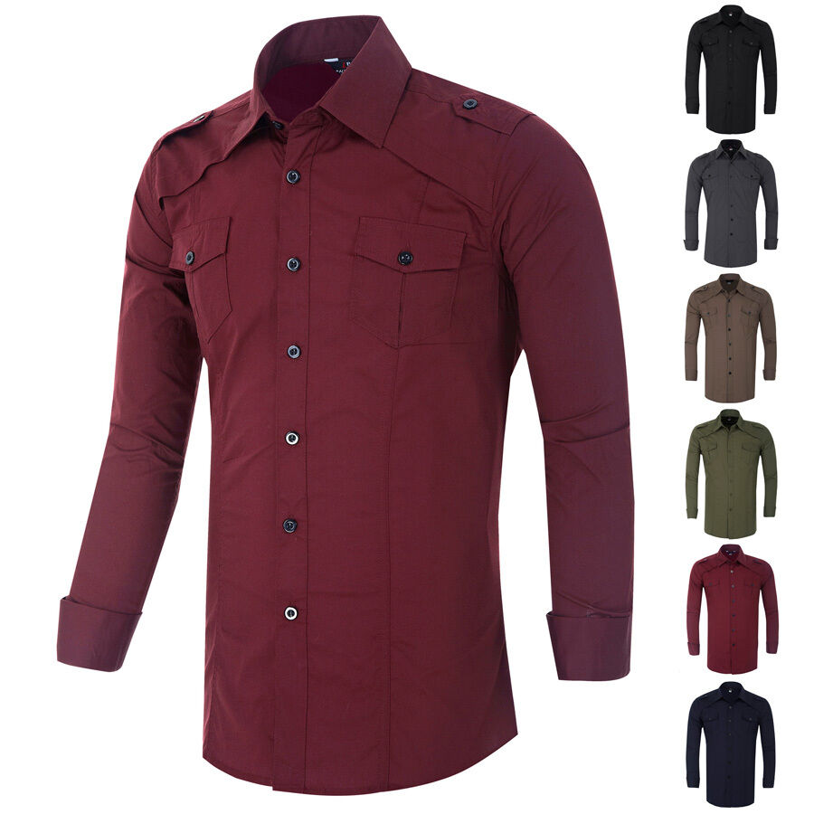 New mens military casual shirts work office slim fit for Where to buy casual dress shirts
