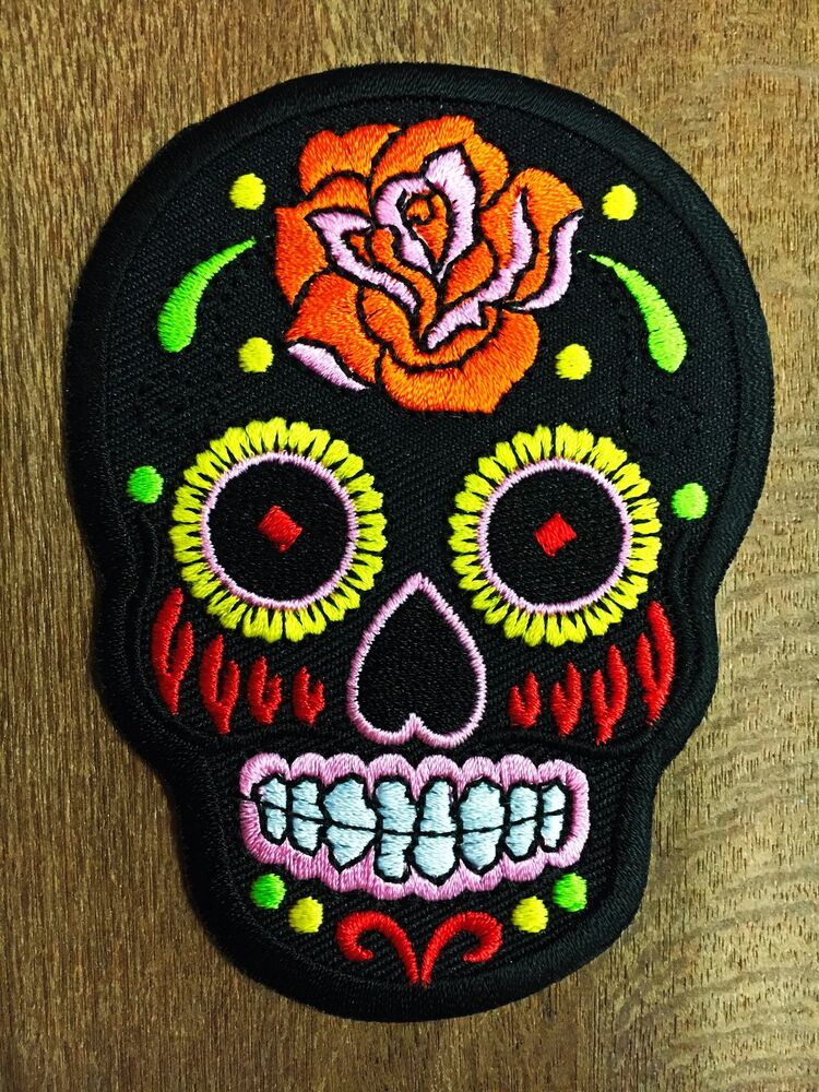 Embroidered Iron On Sew On Patch Motif Applique Embroidery Black Skull | EBay
