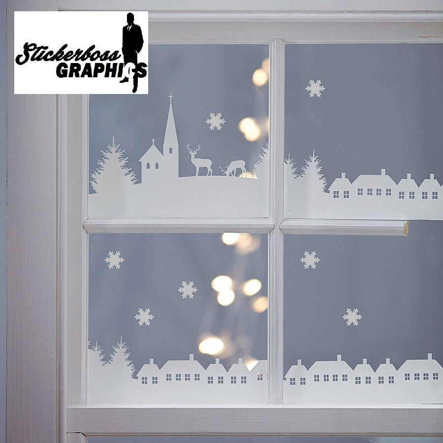 Christmas Decorations For Home Windows: Christmas Village Scene Vinyl Stickers Decal Xmas Window