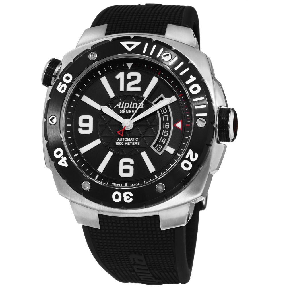 Alpina Men's Extreme Diver Rubber Strap Swiss Automatic ...