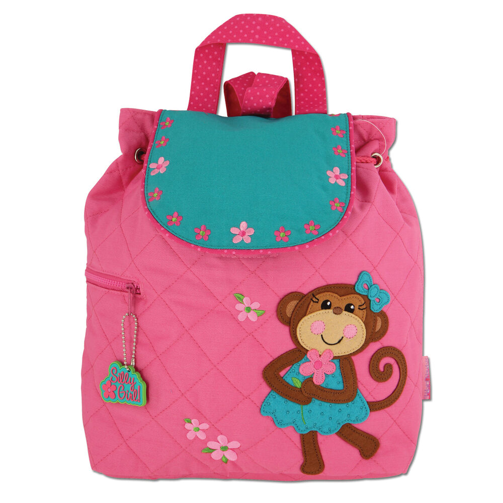 Stephen Joseph Quilted Girl Monkey Backpack