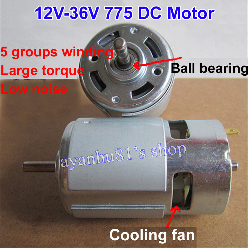 Large torque high power 775 motor dc 12v 24v 3500 9000rpm for Low noise dc motor