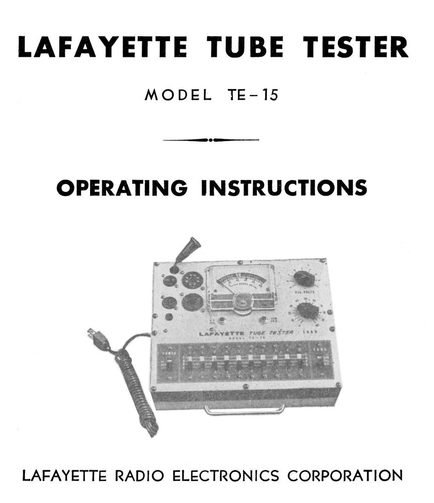 Lafayette te 15 tube tester owner 39 s manual plus tube data ebay - La finestra lafayette ...