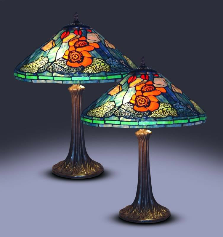 New Tiffany Style Water Lily Lamp Set Stained Glass
