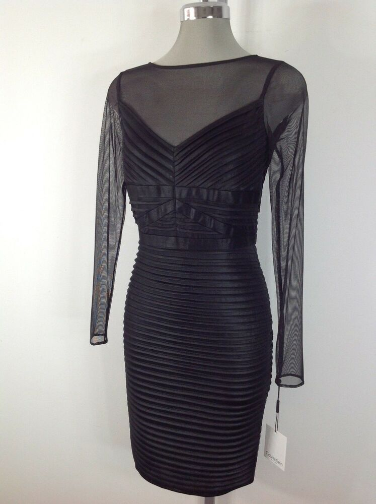 Calvin Klein Nwt Black Dress Pleated Front With See Thru
